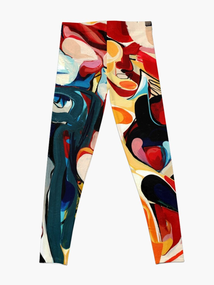 Alternate view of Expressive Abstract Composition painting  Leggings