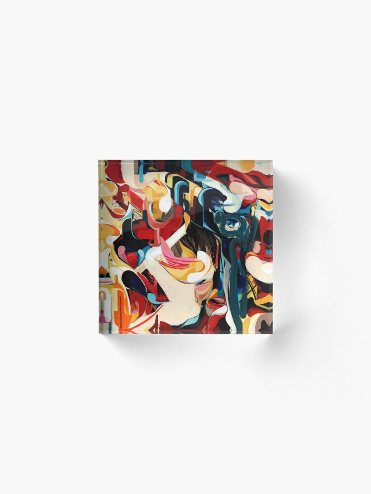 Alternate view of Expressive Abstract Composition painting  Acrylic Block