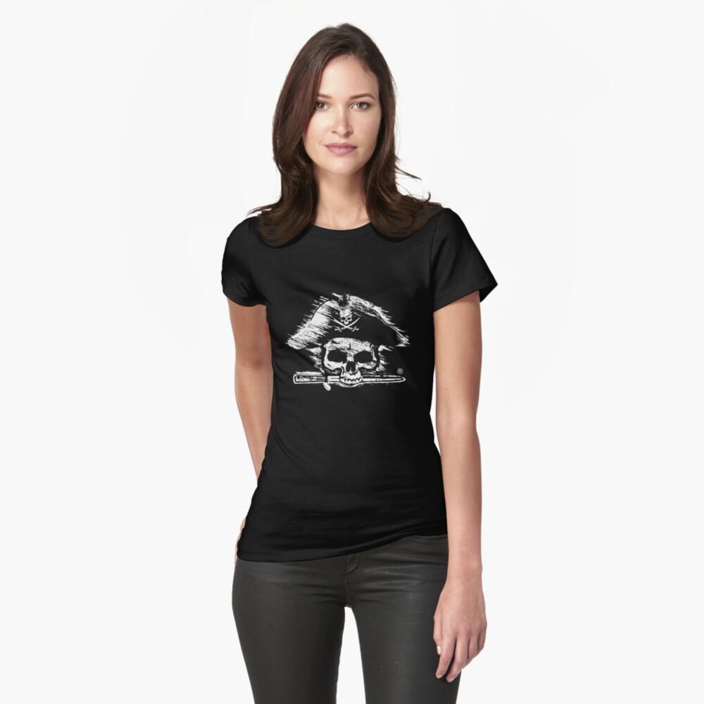 Pirates Adventure Mallorca Merchandise Skull Black Womens T-Shirt Front