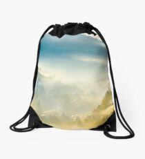 road through the village in foggy valley Drawstring Bag