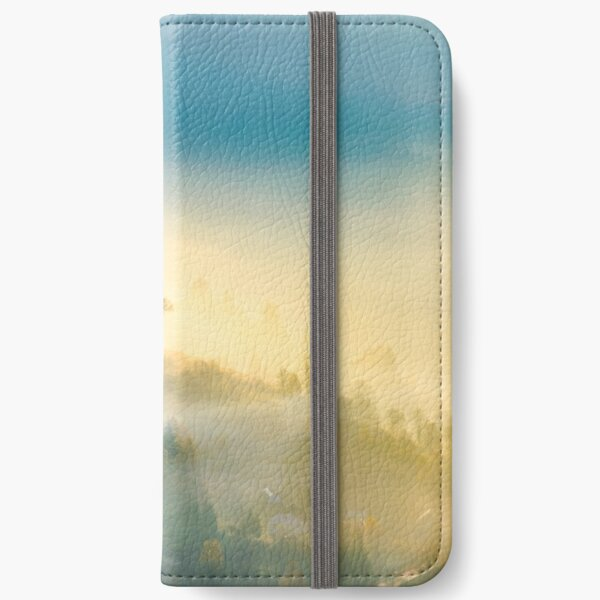 trees in glowing morning fog iPhone Wallet