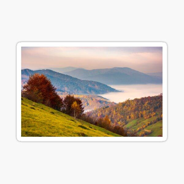 beautiful dawn in mountainous autumn landscape Sticker