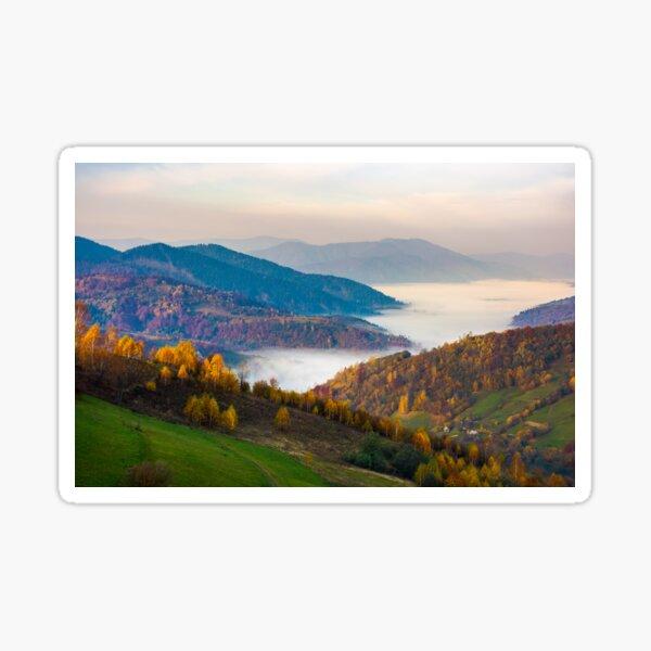 beautiful autumn dawn in mountainous rural area Sticker