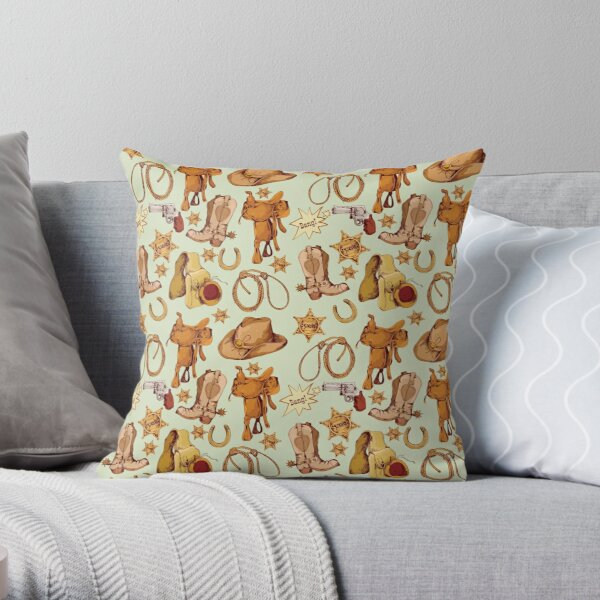 Giddyup Cowboy Gear Print Throw Pillow