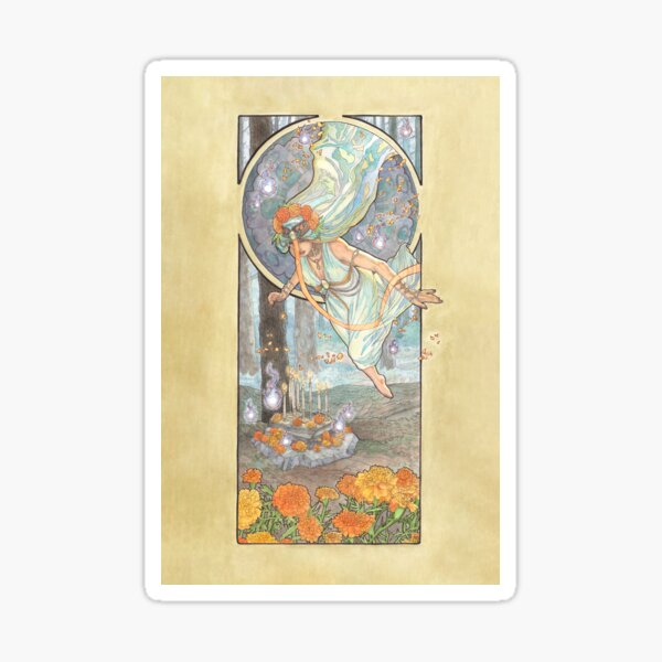 Lady of October with Opal and Marigolds Spirit Shrine Goddess Mucha Inspired Birthstone Series Sticker