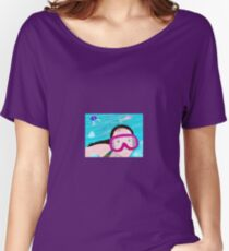 A little girl swims down under at the bottom of the pool Women's Relaxed Fit T-Shirt