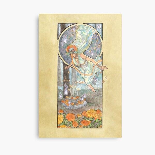 Lady of October with Opal and Marigolds Spirit Shrine Goddess Mucha Inspired Birthstone Series Canvas Print