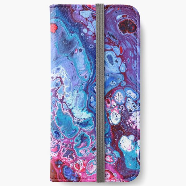 Blue and Purple Acrylic Pour iPhone Wallet