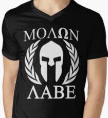 Molon Labe Grunge Spartan Funny Geek Nerd Men's V-Neck T-Shirt