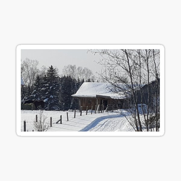 The Barn in Winter Sticker
