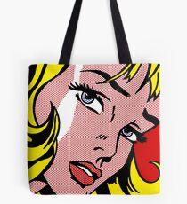 Pop art girl face, Roy Lichtenstein Tote Bag