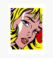Pop art girl face, Roy Lichtenstein Art Print
