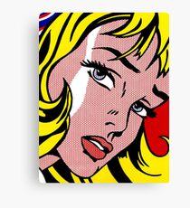 Pop-Art-Mädchen Gesicht, Roy Lichtenstein Leinwanddruck