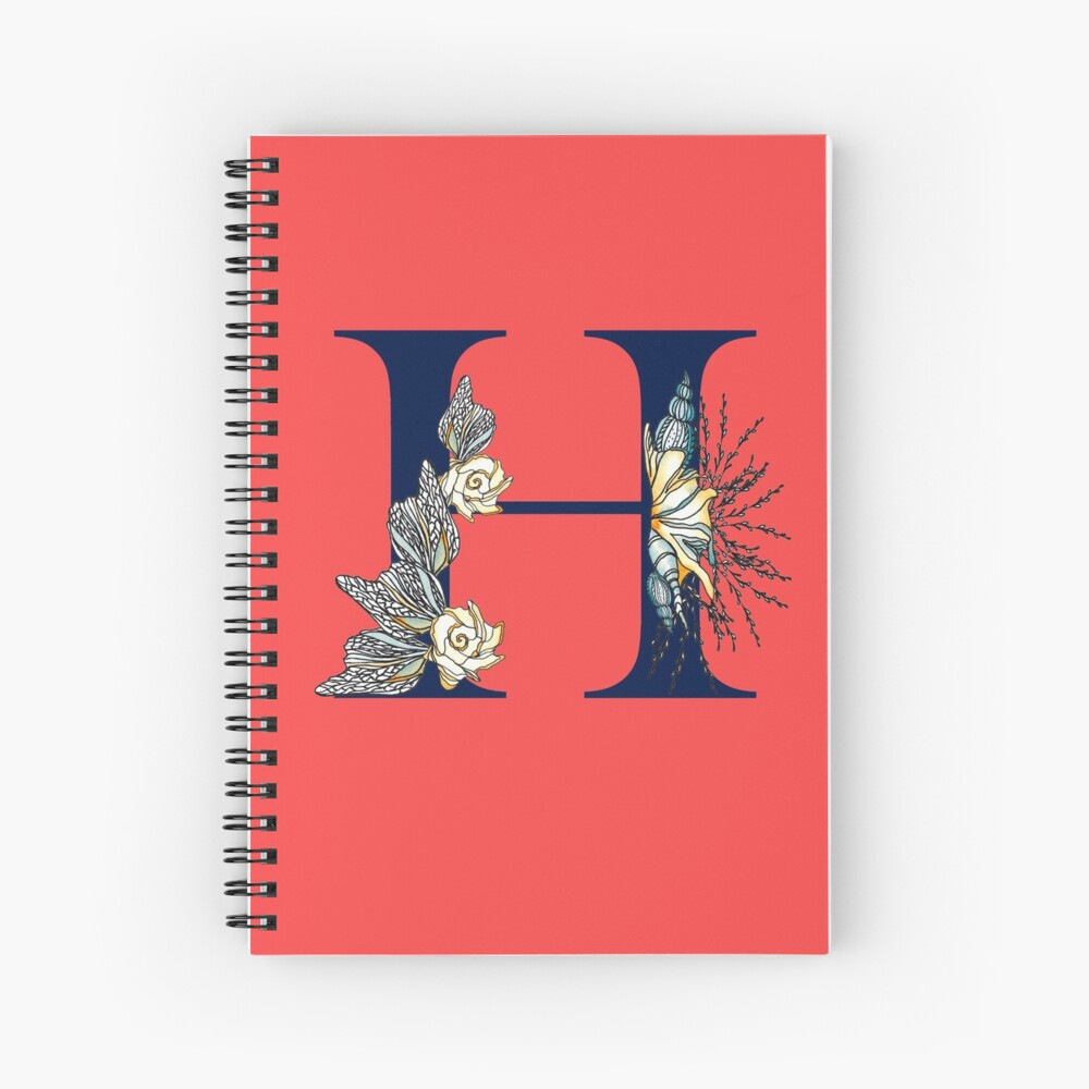 Letter H - Navy uppercase Alphabet, sea life, seashells, ocean, nautical Spiral Notebook