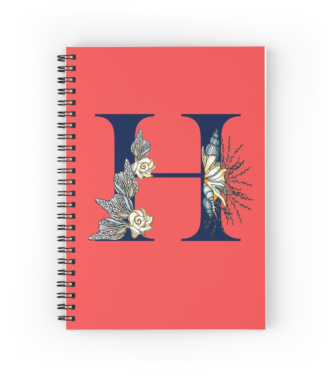 Letter H - Navy uppercase Alphabet, sea life, seashells, ocean, nautical