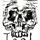 Tool - Hand painted 4x6 black and white ink skull on watercolor postcard by mwesselcreative