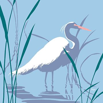 Abstract Egret Retro pop art landscape by waltcurlee