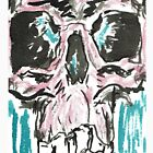 4x6 black and white ink skull on watercolor postcard by mwesselcreative