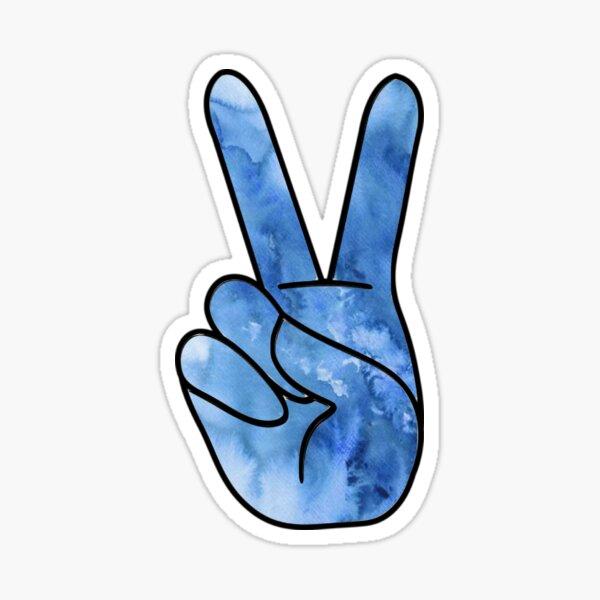 Blue Watercolor Peace Sign Sticker