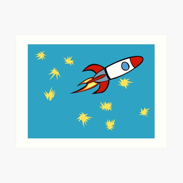 For a Boy (Rocket with Matisse Stars) Art Print