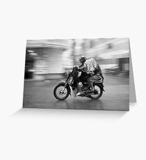 Moto in the Rain Greeting Card