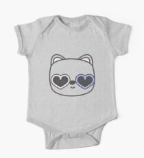 Cool Kitty Cat with Heart Sunglasses One Piece - Short Sleeve