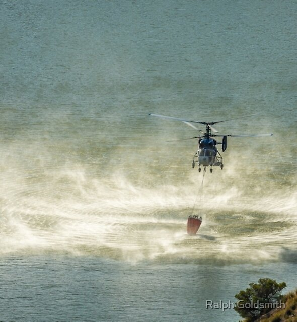 Fire Fighter Helicopter Picking Up Water by Ralph Goldsmith