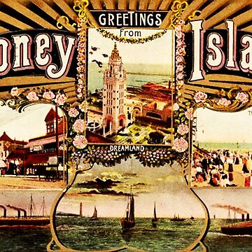 Greetings from Coney Island vintage fan art by NichePrints