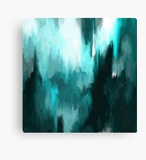 Ocean Water - an Aqua Blue Abstract painting with White Canvas Print