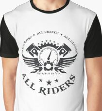 All Riders Classic Logo Distressed Black Graphic T-Shirt