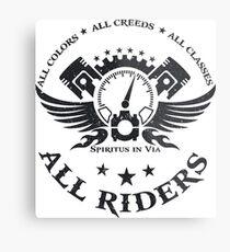 All Riders Classic Logo Distressed Black Metal Print