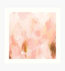 Abstract minimal peach, millennial pink and gold painting Art Print