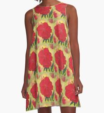 Red Hibiscus A-Line Dress