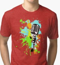 Old Skool Microphone Tri-blend T-Shirt