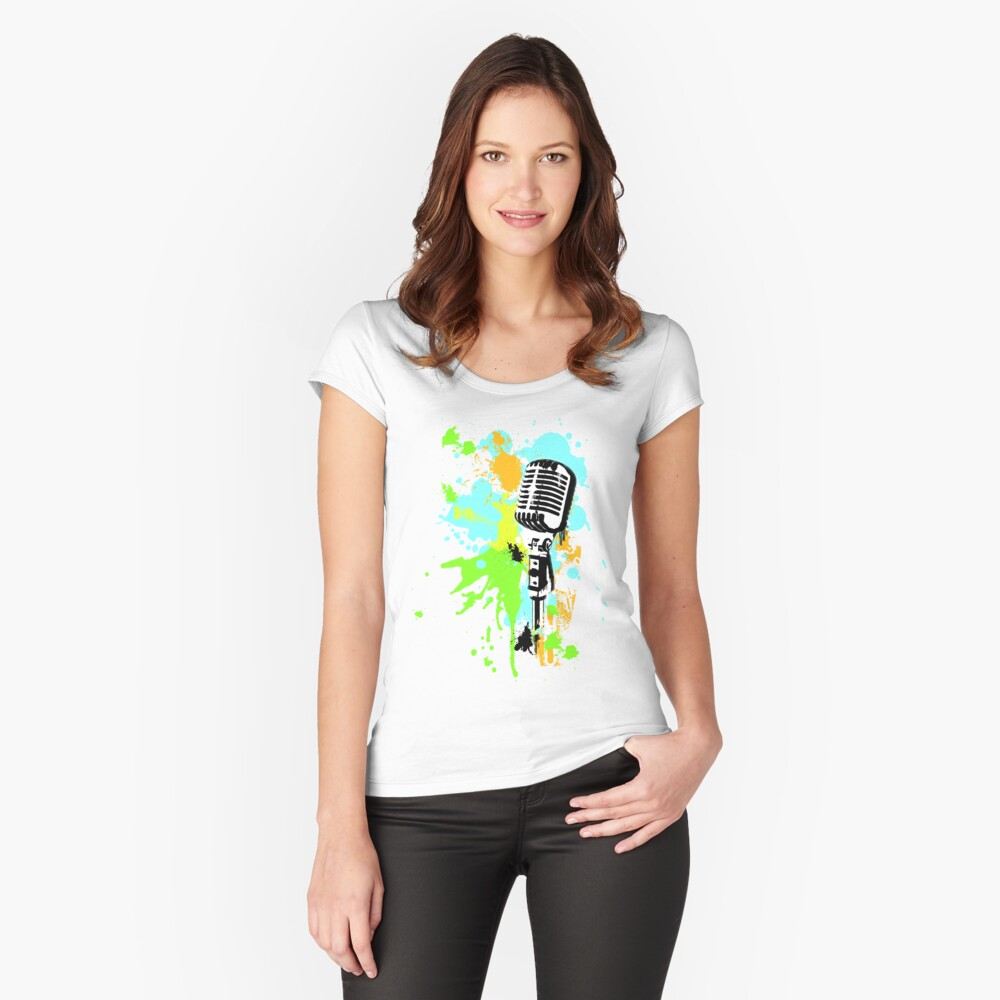 Old Skool Microphone Women's Fitted Scoop T-Shirt Front