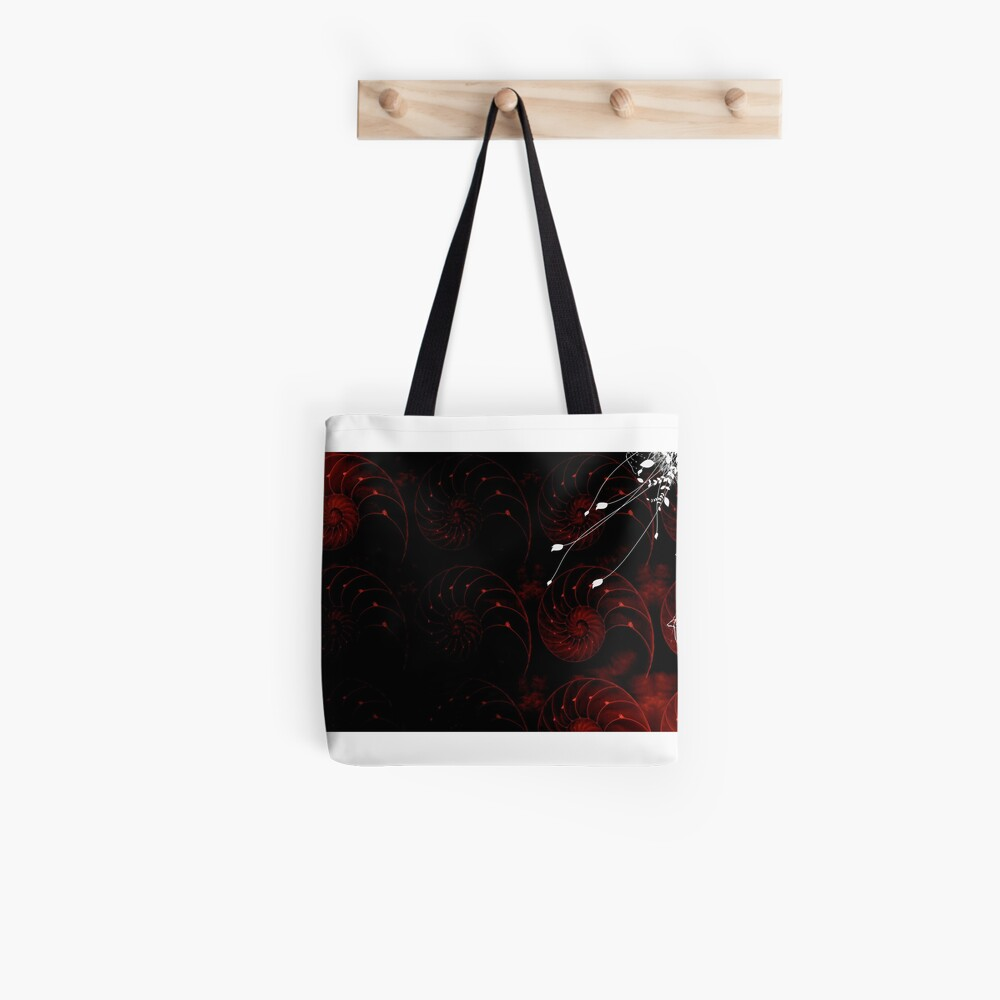 Red Fractal Abstract Tote Bag