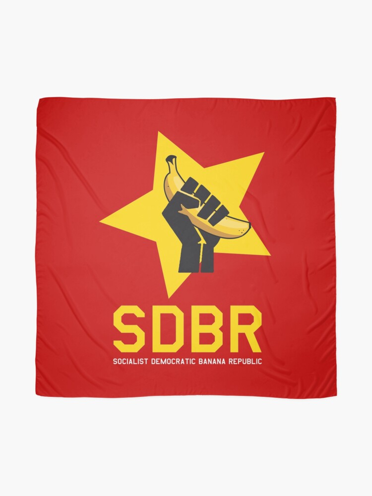 Alternate view of Socialist Democratic Banana republic communism parody with communist fist holding a banana snekright HD HIGH QUALITY ONLINE STORE Scarf