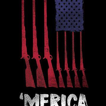 Gun American Flag Shirt Patriotic July Fourth T-Shirt Merica by thehadgaddad