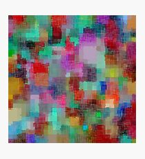 geometric square pixel pattern abstract in green blue red pink purple Photographic Print