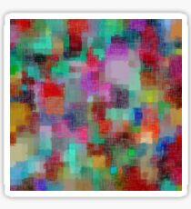 geometric square pixel pattern abstract in green blue red pink purple Sticker