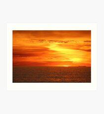 Setting sun on the horizon. Art Print
