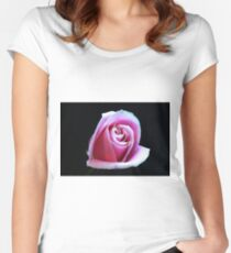Pink Rose On Black Women's Fitted Scoop T-Shirt