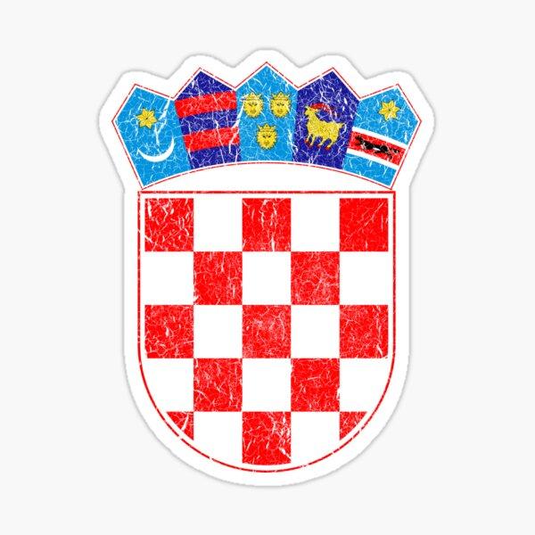 Vintage Croatia Croatian Flag - Hrvatska Sahovnica Sticker
