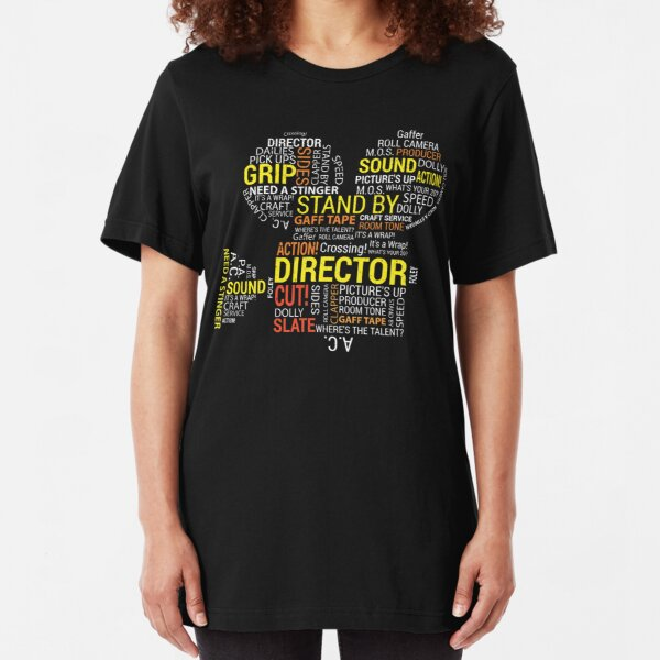 Filmmaker Cinematographer Director Cinematography Filmmaking Gifts - Camera with Word Cloud  Slim Fit T-Shirt