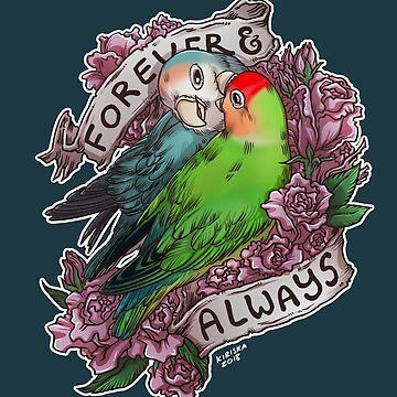 Forever and Always (peach-faced lovebird) by kiriska