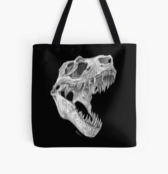 T-rex skull All Over Print Tote Bag