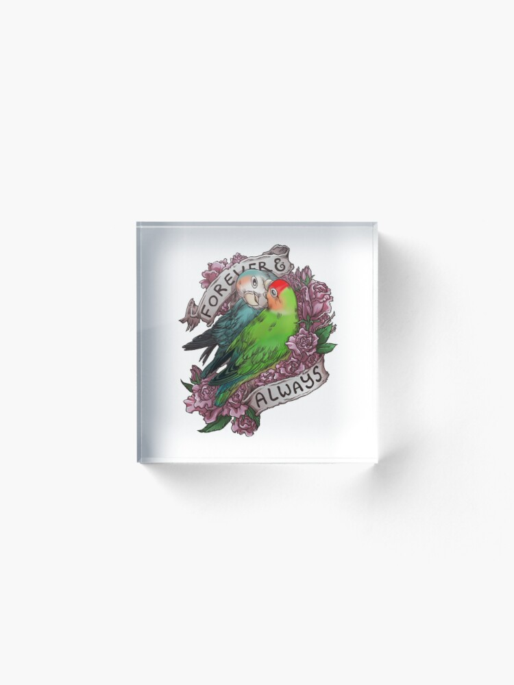 Alternate view of Forever and Always (peach-faced lovebird) Acrylic Block
