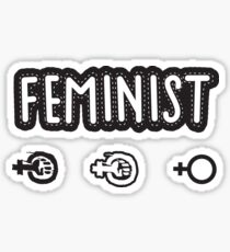 Feminist textile organic style black and white (on black background) Sticker