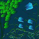 Blue Digital Floral by marybedy