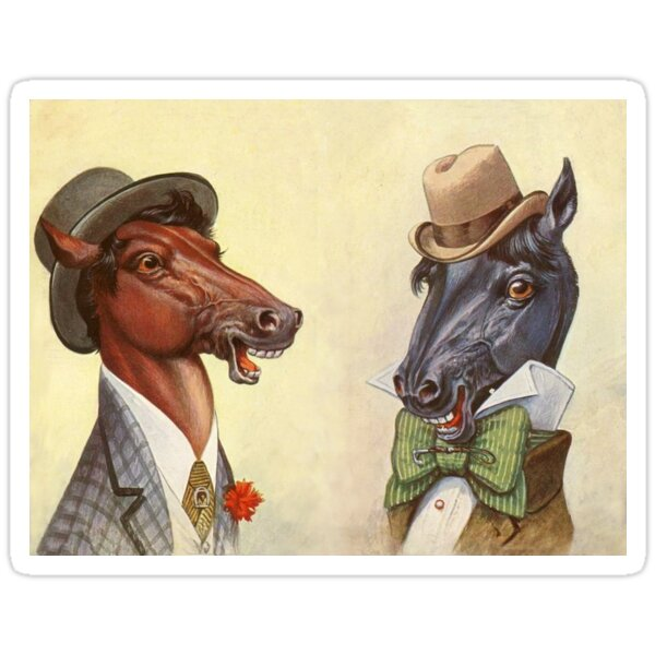 Two dressed up horses in hats, bows and suits Anthropomorphic horses animals